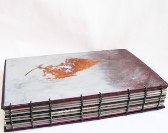 Natural Rustic Journal or sketchbook is 9 by 6 inches, this Artists Book is OOAK, open coptic binding and center pocket, unlined pages