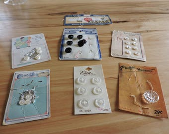 Vintage Sewing Notions, Vintage Buttons and Hooks on Original Cards