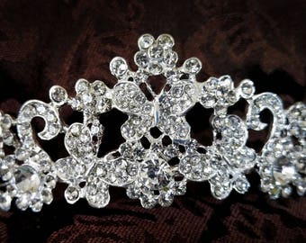Beautiful Wedding, Pageant, Prom Butterfly Tiara with Rhinestones