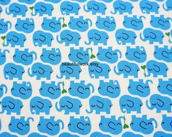 Blue Elephant print Japanese fabric  fat quarter 19.6 by 21 inches nc13