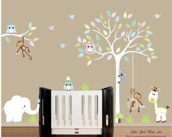 Children wall decals owl baby nursery white tree wall decal vinyl decal tree wall
