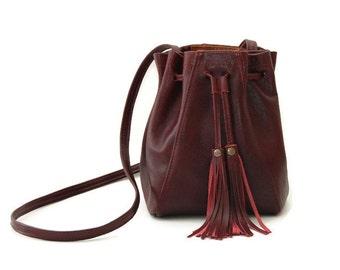 Burgundy Leather Bucket Bag // Mini tassel drawstring bucket bag // Boho Crossbody bag or shoulder bag in ox blood / marsala dark red