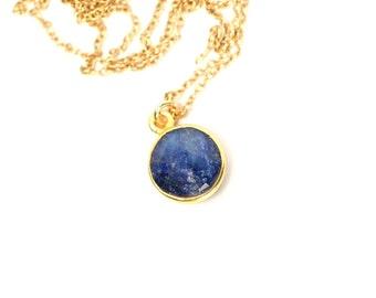 Blue sapphire necklace - crystal necklace - sapphire - september birthstone - a gold bezel set sapphire on a 14k gold vermeil chain