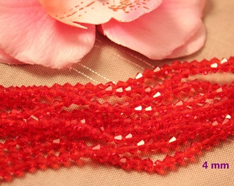 Lot 50 Crystal Bicone 4mm red faceted bicone beads