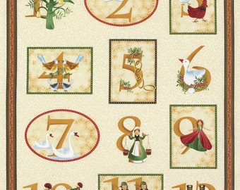 "34"" Fabric Panel - Timeless Treasures 12 Days of Christmas Wallhanging Cream"