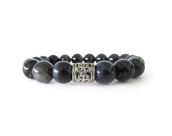 Men's Bracelet with 10mm Black and White Striped Agate Beads and a Pewter Focal Bead - M1030