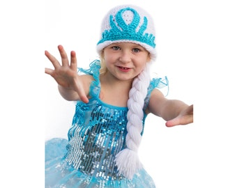 PDF Crochet Pattern for Crowned Hat, Toddler to Teen, Permission To Sell Finished Items, Elsa Hat Crochet Pattern, Queen Hat Crochet Pattern