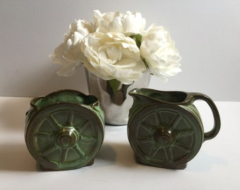 Gorgeous Set of Vintage Frankoma Wagon Wheel Cream and Sugar Prairie Green