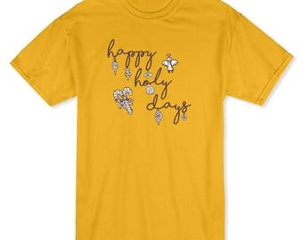 Happy Holy Days Christmas Decorations  Men's Gold T-shirt