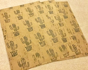 Cactus Wrapping Paper, Kraft Paper with Cacti, Hand Carved Stamp on Paper, Gift Wrap, Birthday