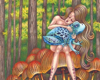 "Id - a quirky 8 x 10"" ART PRINT of the subconscious mind where a beautiful woman befriends a poisonous bright blue frog in the deep forest"