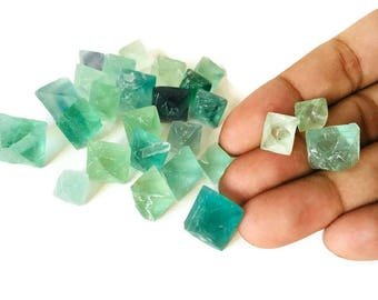 3 Small Raw Fluorite Rough Octahedron Crystal Light Blue Green