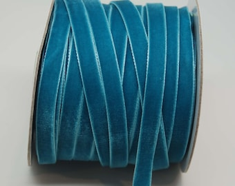 Velvet Woven Ribbon Trim -- 3/8 inches -- Turquoise Teal Blue