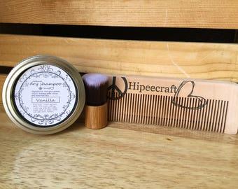 Organic Dry Shampoo Nag Champa Dry Shampoo Kit Comb and Brush