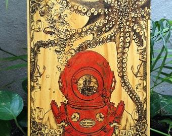 Deep Sea Diver, Scuba Diver Gift, Diver Print,Scuba Diving, Kraken, Beach House Decor, Nautical Wall Art, Steam Punk, Nautical Vintage Style