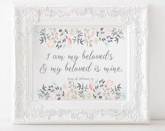 Song of Solomon 6:3 - I am my beloved's - Printable print, Scripture print, bible verse print, christian decor, catholic decor, gems diamond
