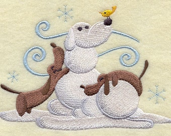 Build a Snowpal Daschund Scene Embroidered Flour Sack Hand/Dish Towel