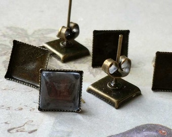 9 mm (Fit for 8 mm Glass Button) Antiqued Bronze Earring Posts With Earring Stoppers (.sm)