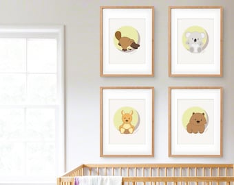 Australian Animal Nursery Art Print Set of Four