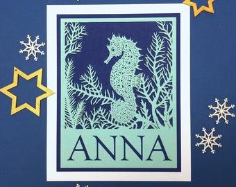 Personalised papercut animal or sea creature print