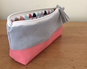Coral Pink Striped Painted Pencil Pouch Zipper Bag