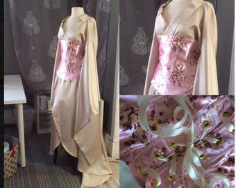 Satin kimono and corset obi plus size ready to ship
