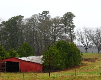 Old Barn Photography- GA Countryside Photos, Red Barn Photos, Landscape Photography, Red Green home decor Old barn print, country lover gift