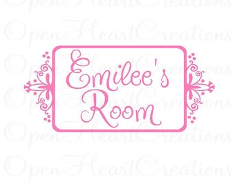 Girl Name Wall Decal - Small Personalized with Child Name and Room - Bedroom Door Sign 10h x 22w FN0096