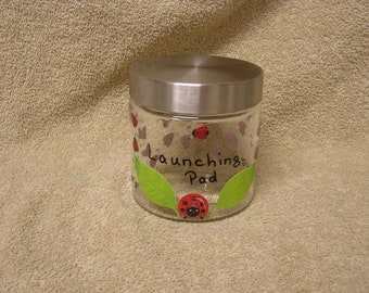Mother Ladybug's Launching Pad of Love Decorated Glass Jar