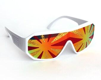 Rasslor Lava Flow Star Burst Shield Sunglasses