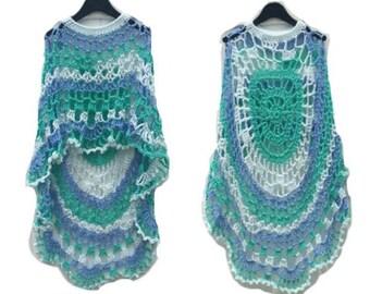 Crochet Poncho Sea Foam Long Circular Asymmetric Shawl Pullover Crochet Pattern NOT a Finished Product Is a Digital File