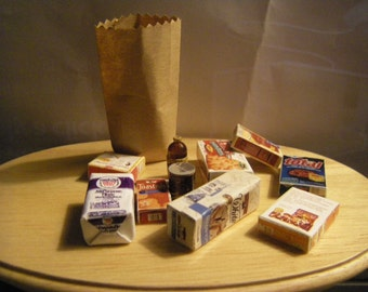Miniature Bag of Groceries / 1:12 Scale for Dollhouse Minis / Five Handmade Grocery Items with brown bag