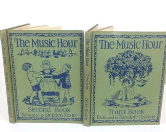 VTG 1930s childrens room decor nursery the MUSIC HOUR, second and third book, 1937