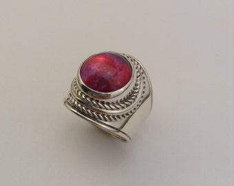 Dragon's Breath opal sterling silver ring