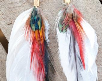 Tropical getaway - feather earrings