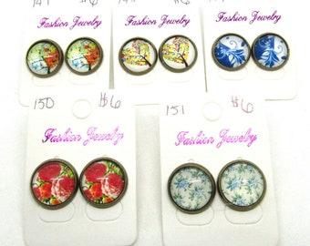 Choice of Design Flower/Tree Theme Antique Bronze Tone Button Earrings 14mm (J60)