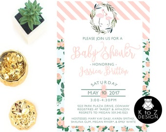 Flamingo Baby Shower Invitation /Flamingo Invitation /Flamingo Baby Invitation/ Printable Invitation / Printed Invitations