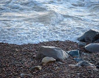 Ocean Beach Morning - California coast - pebble beach, Pacific ocean - Beach Decor - Fine art photo - seaside - waterscape - neutrals