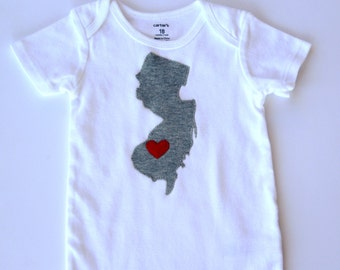 Choose Your State Shirt, New Jersey Baby Bodysuit, New Jersey Love Bodysuit, State Love Shirt
