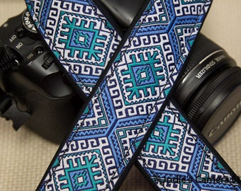 "Camera Strap Aztec Turquoise Green 1.5"" Wide Custom Padded Fits DSLR SLR 5477"