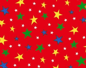 Atomic Stars in Red by Michael Miller, sold by HALF YARD. Coordinates with Bot Boy.