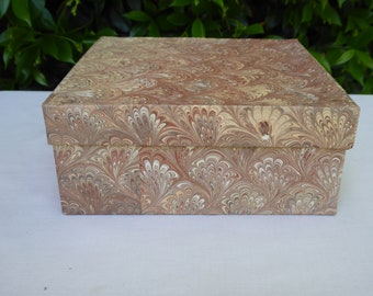 Brown and tan marbled paper covered band box