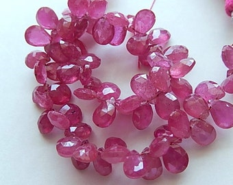 Sapphire Gemstone. Semi Precious Gemstone Bead. Faceted Pink Sapphire Pear Briolette, 6-7mm. Your Choice  (hsap1)