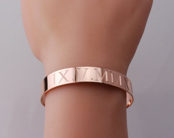 Cuff bracelet • Custom engraved in various widths 14k gold filled, Rose gold filled or sterling silver  Adjustable Roman numeral cuff bangle