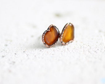 Amber Studs Electroformed Studs Polished Amber Earrings Natural Amber Jewelry