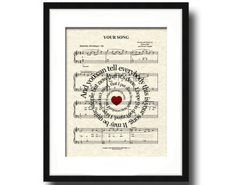 Your Song Lyric Sheet Music Art Print, Love Song Art, First Dance Art, Names and Date, Custom Wedding & Anniversary