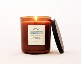 Eucalyptus & Lemon Myrtle Soy Candle | 100% Pure Essential Oils | 150g, 300g, 450g