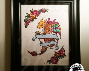 Fire Dragon with Roses // Tattoo Art Print // featuring Charizard