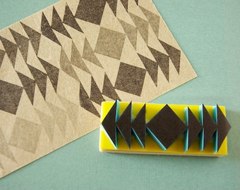 Tribal Stamp, Triangles, Border Stamp, Symmetrical, Hand Carved, Mounted, Hipster Decor, Geometrical Design.