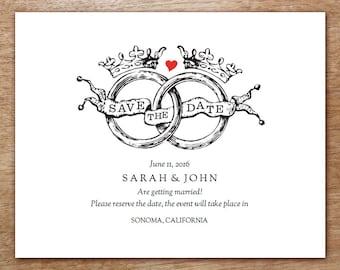 Printable Save the Date Card - Save the Date Template - Instant Download - Save the Date PDF - Vintage Save the Date - Wedding Rings & Crown
